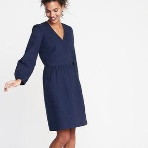NWT Old Navy Waist Defined Wrap Front Dress, Med